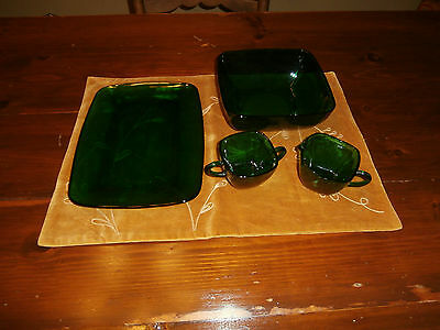 Vintage Anchor Hocking Forest Green~Christmas~Serving Pieces~Bowl~Sugar/creamer+