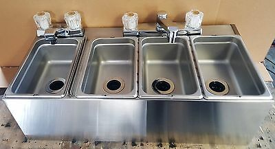 New 4 Compartment Sink  Ready To Install, Wall Mount , Food Cart Nsf Stainless