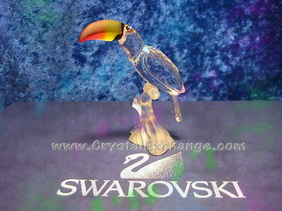 Swarovski Crystal Toucan Bird with colored beak. 840329. Retired 2009. MIB+COA.