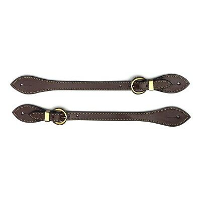 New Campdraft Western Spur Straps Brown Oiled Leather Brass Buckles Adult Size