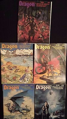 Vintage DRAGON Magazine: 5 Issues 70, 71, 72, 75, 77  TSR D&D Dungeons