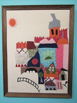 Mid Century Modern Abstract Fabric Appliqué Collage Textile Wall Art