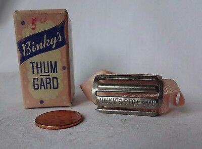 Vintage Metal Baby Thumb Guard in Box Dentist Collectible 1950s Thumbsucking