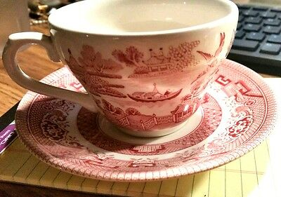 Vintage Churchill Willow Rosa pink tea cup/saucer