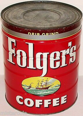 Vintage coffee tin FOLGERS key wind large 4lb size with correct lid dated 1952