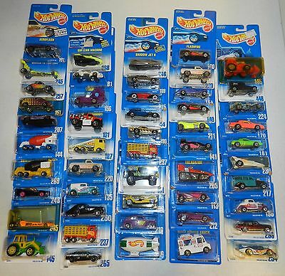 Lot of 50 Mixed Hot Wheels on Blue Cards
