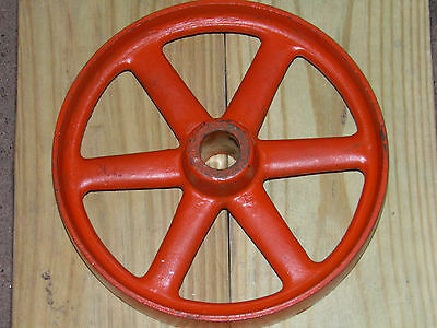 """Old, antique, 6 spokes, industrial, cast iron wheel/gear or lamp base. 8 5/8"""" D"""