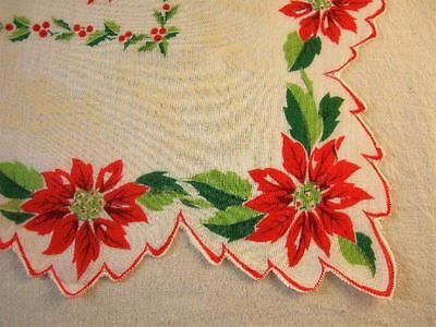 Christmas/Holiday Poinsettias and Snowy Town Handkerchief