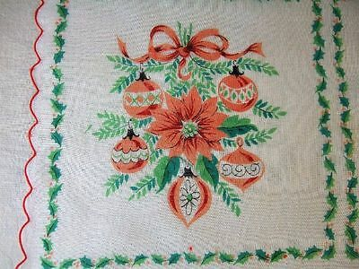 VINTAGE Christmas/Holiday 4 Squares Handkerchief  EXCELLENT Condition