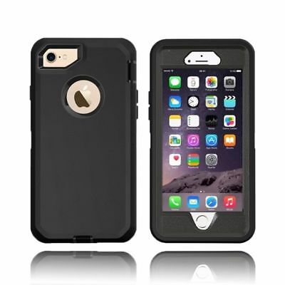 For iPhone Defender BLACK Case Cover  w/ Screen Protector [Clip Fits Otterbox]