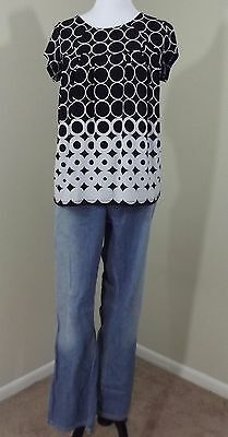 MATERNITY Outfit ~ LIZ LANGE Jeans 12 & DUO MATERNITY Black White Blouse Medium