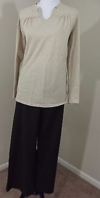 MATERNITY Outfit ~ LIZ LANGE Pants 10 & Creme Top w/Gold Thread Stripes MEDIUM
