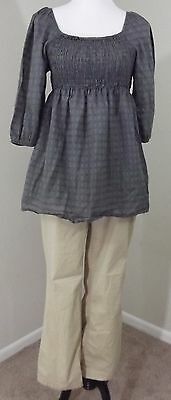MATERNITY Outfit ~ LIZ LANGE Gray Blouse MEDIUM & NEW ADDITIONS Tan Pants