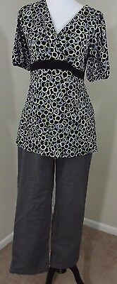 MATERNITY Outfit ~ LIZ LANGE Pants 10 & Motherhood Blouse Top MEDIUM