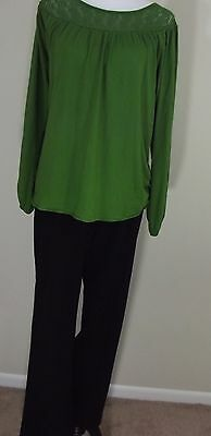 MATERNITY Outfit ~ MOTHERHOOD Black Pants & OLD NAVY Green LS Top LARGE