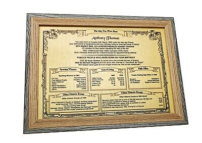 Personalised Birthday GIFT - Plaque Lots of Interesting Information - KEEPSAKE