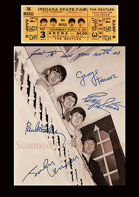Signed Beatles Photo PLUS Concert Ticket Indiana State Fair 1964 USA