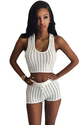 Stripe Hooded Crop Top and Short Set White ladies casual sports Track Suits