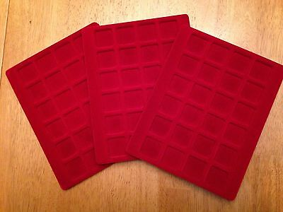 Lindner 3 Red Velour Coin Display Trays Never Used 24 Coins Each 6.75 X 8.5  