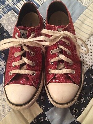 Girls Pink Sparkle Converse Shoes, Size 1