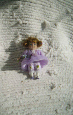BEAUTIFUL Porcelain Doll Cloth Body with Lavender Dress    Flowers/Lace/Lovely!!