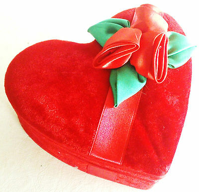 Red Velvet Valentine Heart Box,Satin Roses, Hinged Lid,Satin Lined,Great GiftBox