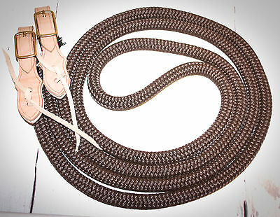 "Yacht rope reins 5/8""  with slobber straps brown"