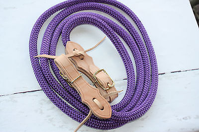 "Yacht rope reins 5/8""  with slobber straps purple"