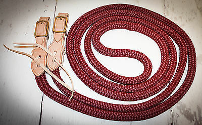 "Yacht rope reins 5/8""  with slobber straps burgandy"