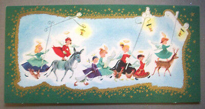 Parade of Angels  CHRISTMAS VINTAGE GREETING CARD *Q