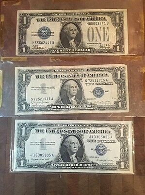Lot of 3 U.S. $1 Dollar Silver Certificates Blue Seal 1928 B, 1957 A & 1957 B