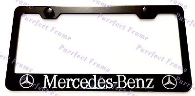 Mercedes benz with logo black stainless steel license for Mercedes benz license plate logo