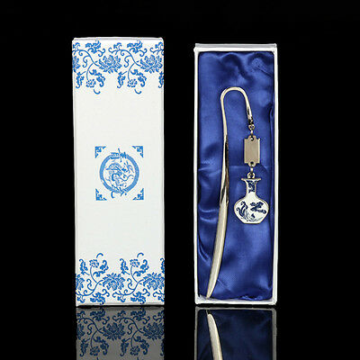 Metal Chinese Blue-and-White Porcelain Bookmark With Tassel Souvenir Gift