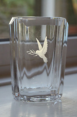 Beautifully Etched Glass Vase by Skruf Signed Scandinavian
