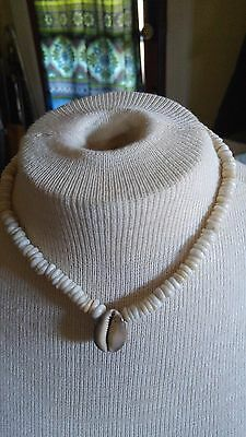 "VTG Necklace White Puka Shell Trade Beads Unisex Surfer Beach Hawaii 18"" long"