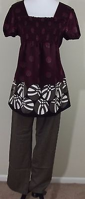 MATERNITY Outfit ~ DUO MATERNITY Silky Blouse & MOTHERHOOD Brown Pants ~ LARGE
