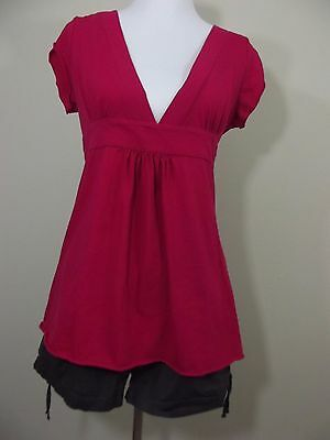 MATERNITY Outfit ~ Duo Maternity Pink Shirt & Oh! Mamma Black Shorts Size Large