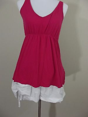 MATERNITY Outfit ~ Oh Mamma White Shorts & OLD NAVY Hot Pink Tank Top ~ Large