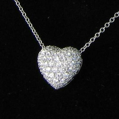 Kwiat Small Heart Pendant Necklace 1.25cts Diamonds 18k White Gold New $3995