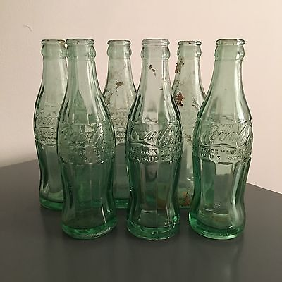 Lot of 6 Vintage Coca-Cola Bottles