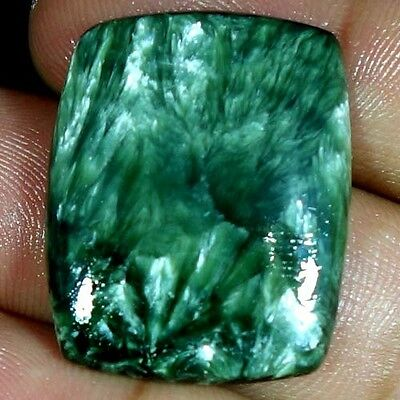 24.00Cts. 100% NATURAL DESIGNER GREEN SERAPHINITE CUSHION CABOCHON AAA GEMSTONES