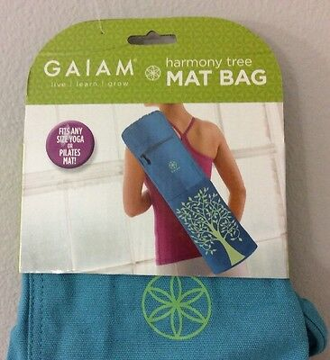 Gaiam Yoga Mat Bag Harmony Tree Sak Zippered Front Pocket Aqua