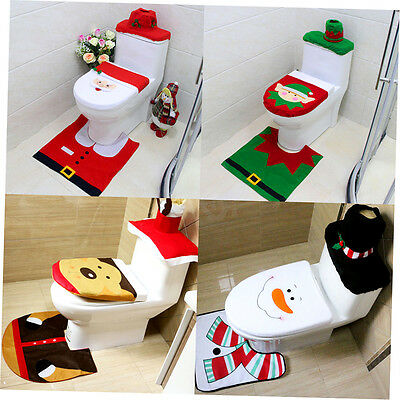 3 in 1 Universal Santa Toilet Seat Cover Rug Bathroom Set Decoration Christmas A