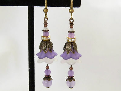 Purple White Vintage Earrings Lucite Bell Flower Dangles