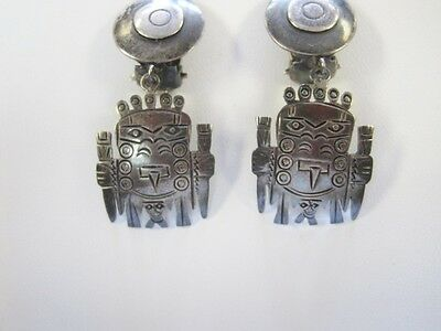 Sterling Figural Clip Earrings South American