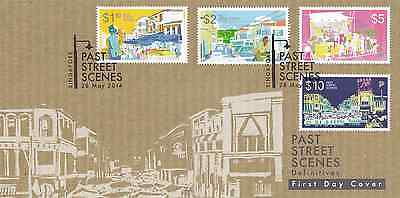 SINGAPORE - 2014 - FDC: Definitives: Past Street Scenes, High-Value. 4v