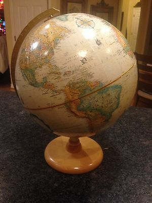 "Vintage 1990'S Replogle 12"" Raised Relief Desk Globe World Classic Series"