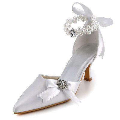 0509 Satin White Wedding Bridal Shoes Pointy Toe Pearl Strap Mid Heel Pumps US 5