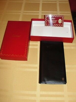 Authentic Mens Black Leather Cartier Address Book In Box Christmas Gift
