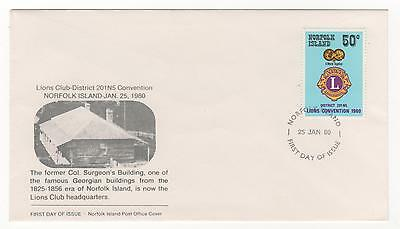 1980 Norfolk Island First Day Cover LIONS CONVENTION Col. Surgeon's Building